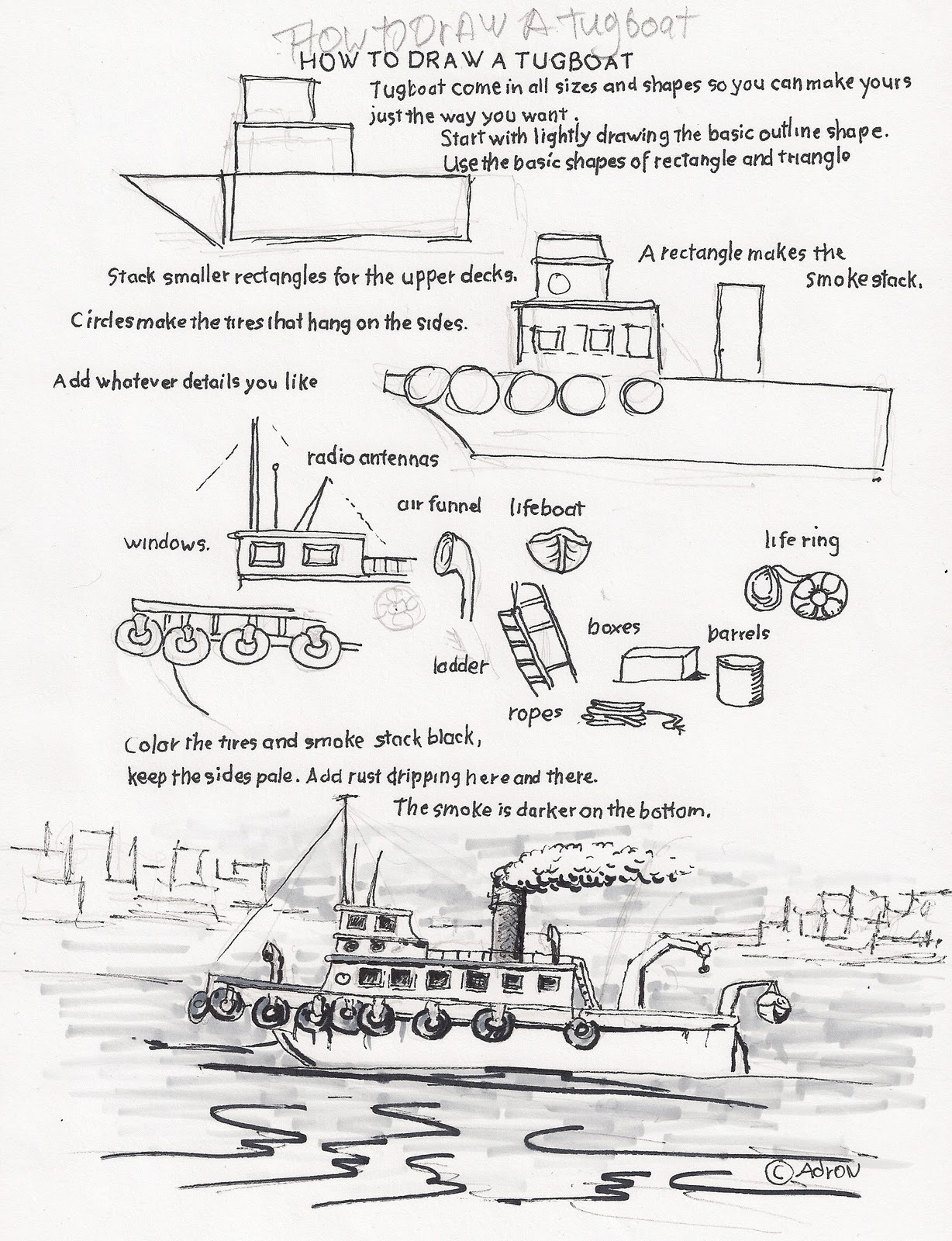 How To Draw Worksheets For The Young Artist How To Draw A Tugboat