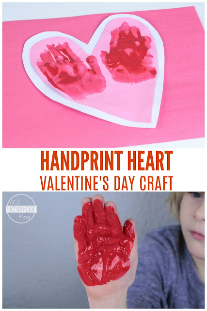 Handprint Heart Valentines Day craft for kids - cute gift, handmade valentine, or keepsake for toddlers, preschoolers, and kindergarten age kids.