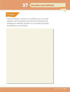 Apoyo Primaria Desafíos matemáticos 1er grado Bimestre 3 lección 37 Inventa una historia