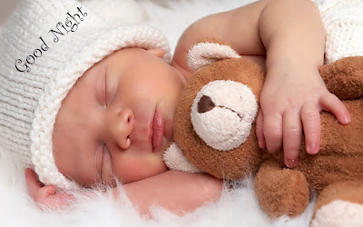 Good night Cute Baby With Teddy HD Wallpaper