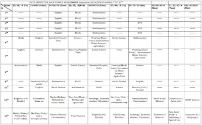 image : Haryana Half Yearly Test Date Sheet (Sept. 2019) Class 9th to 12th @ Haryana-Education-News.com