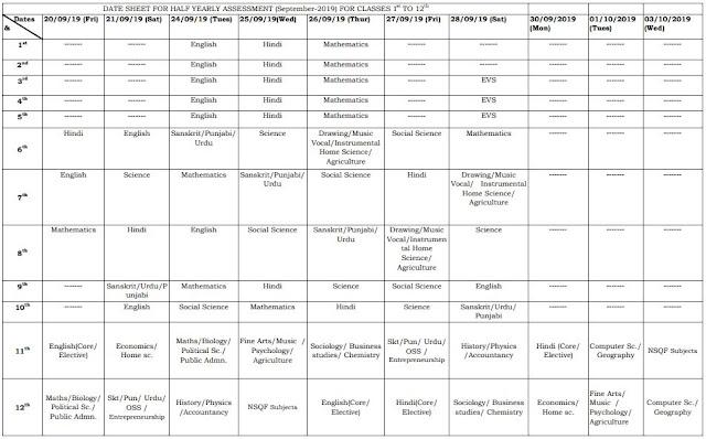 image : Haryana Half Yearly Test Date Sheet (Sept. 2019) Class 9th to 12th @ Haryana-Education-News.com