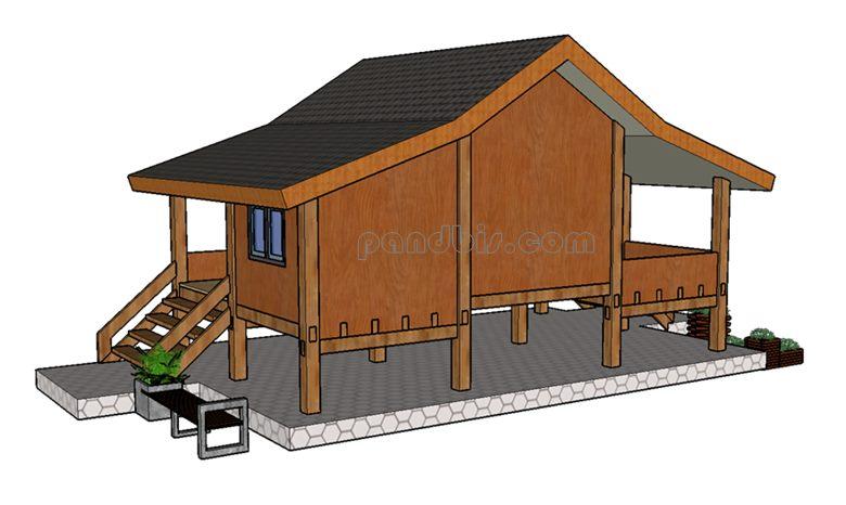 Rumah kayu tampak belakaang sisi kiri