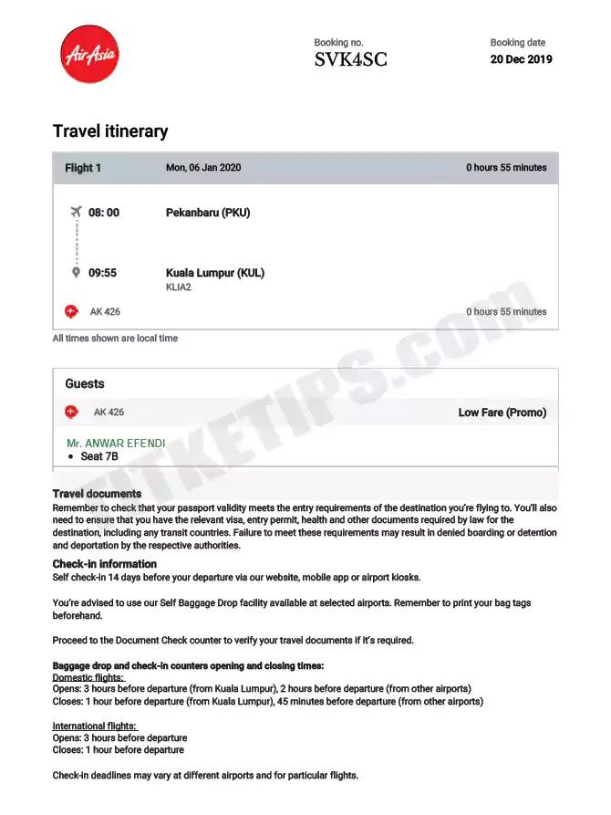 Contoh Print Out E-Tiket Airasia