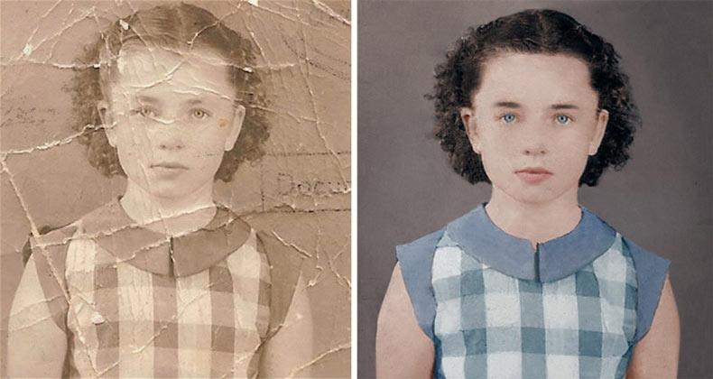 Video timelapse muestra el restaurado y coloreado de un retrato dañado en blanco y negro