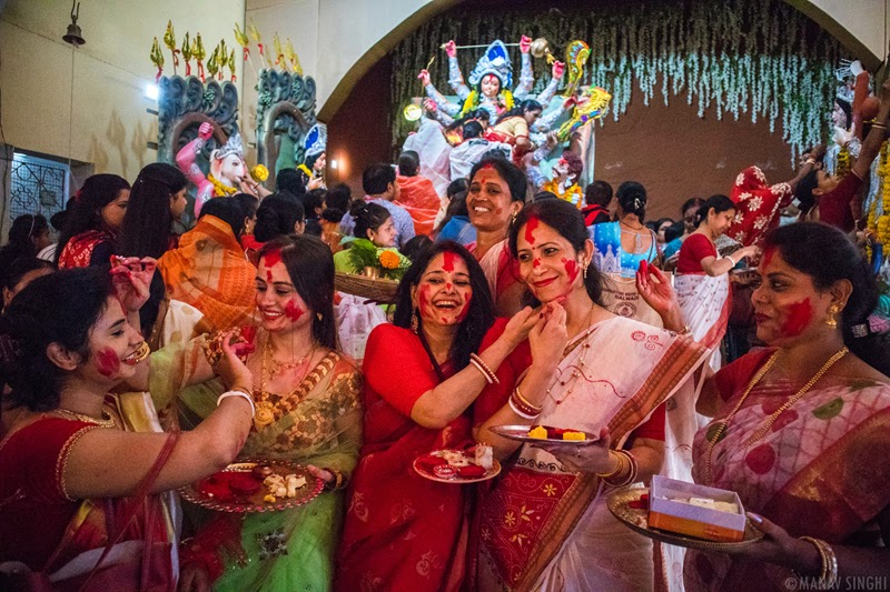 Subho Bijoya Dashami With 'Sindoor khela' - people bid farewell to Maa Durga.