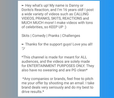 Deskripsi Channel Youtube Reaction Terkenal
