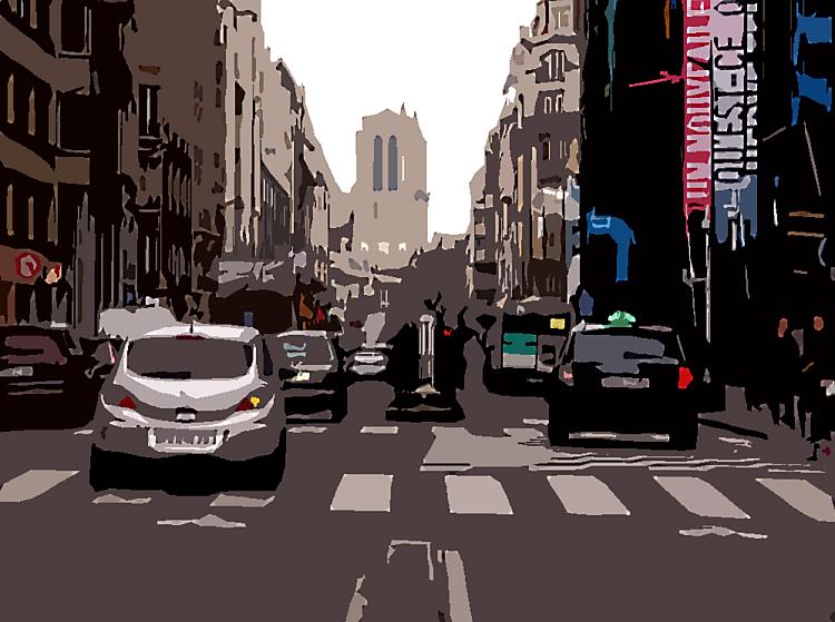 photo de la rue Beaubourg effet artistique