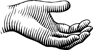 A black on white line drawing of a hand, palm open and facing upward in semi-profile (an offering gesture?) in the style of a vintage woodcut.