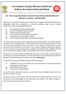 RRB Kolkata Important Notice For Railway Group D Medical