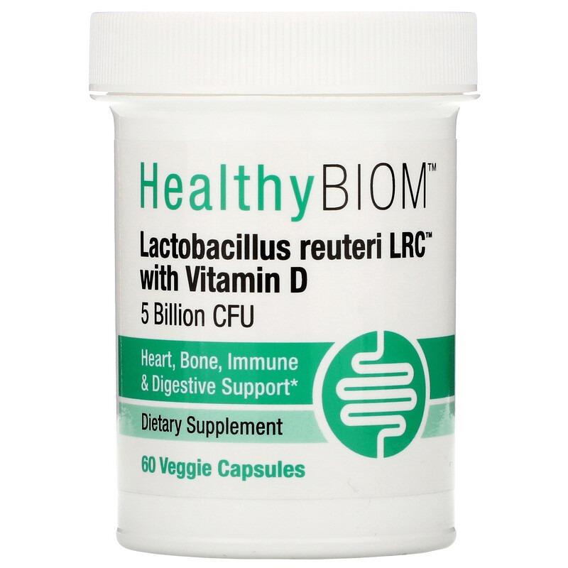 HealthyBiom, Lactobacillus Reuteri LRC с витамином D, 5 млрд КОЕ, 60 растительных капсул