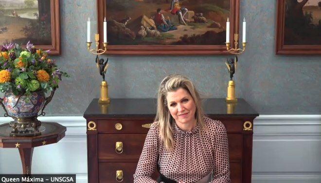 Queen Maxima of the Netherlands wore a print polka-dot paneled silk dress from Giambattista Valli