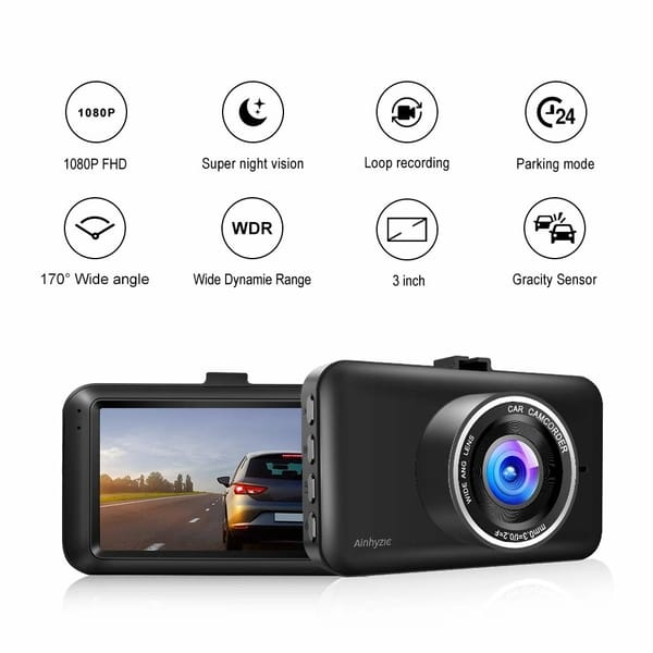 Ainhyzic 3 Inch Screen Full HD Dash Camera for Cars