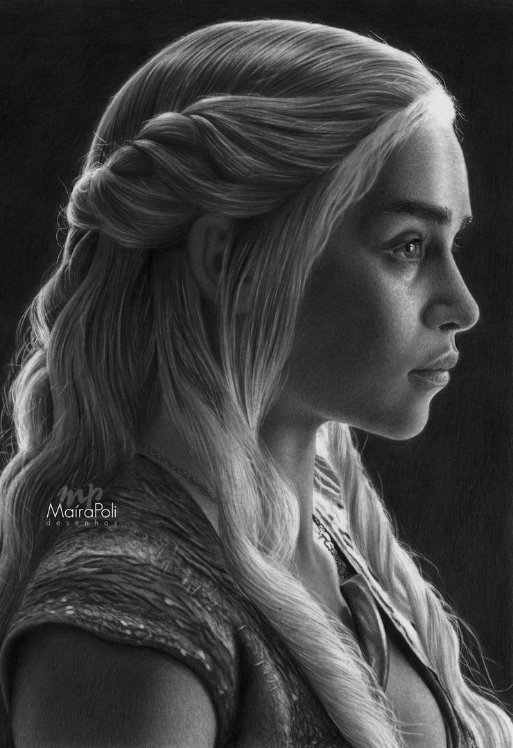 02-Daenerys-Game-of-Thrones-Emilia-Clarke-Maíra-Poli-Mahbopoli-Black-and-White-Realistic-Pencil-Celebrity-Portraits-Drawings-www-designstack-co