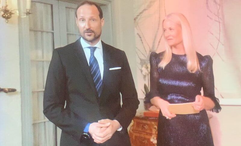 Crown Princess Mette-Marit wore a new Cinderella ruffle-trimmed silk-blend maxi dress by The Vampire's Wife. Manolo Blahnik