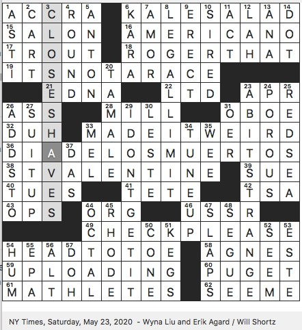 Rex Parker Does The Nyt Crossword Puzzle Peter Preceder In Phonetic Alphabet Sat 5 23 20 Timor Un Member Since 2002 Gitano Spanish Language Hit For Beyonce And Alijandro Fernanandez