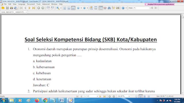 Download contoh soal pppk skb kota/kabupaten dan kunci jawaban