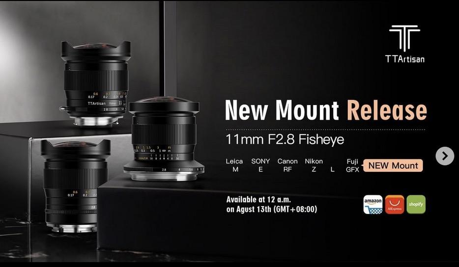 Рекламный баннер объектива TTArtisan 11mm f/2.8 с байонетом Fujifilm G