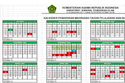 Kalender Pendidikan RA, MI, MTs dan MA Provinsi Jawa Barat Tahun Pelajaran 2020/2021