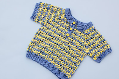 1 - Imagen Crochet Polo azul y amarillo a crochet y ganchillo por Majovel Crochet