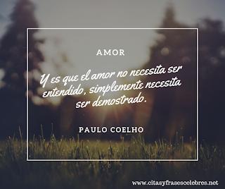 Y es que el amor no necesita ser entendido, simplemente necesita ser demostrado.  Paulo Coelho