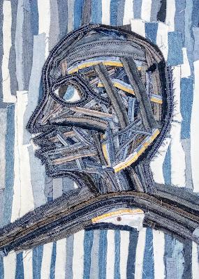 Profile of A Man, Denim artwork  by Miabo Enyadike