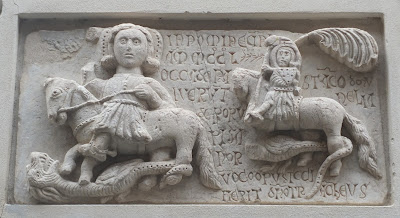 Plaque celebrating Genoa's victory over Pisa, 1290.  Santa Croce, Moneglia.