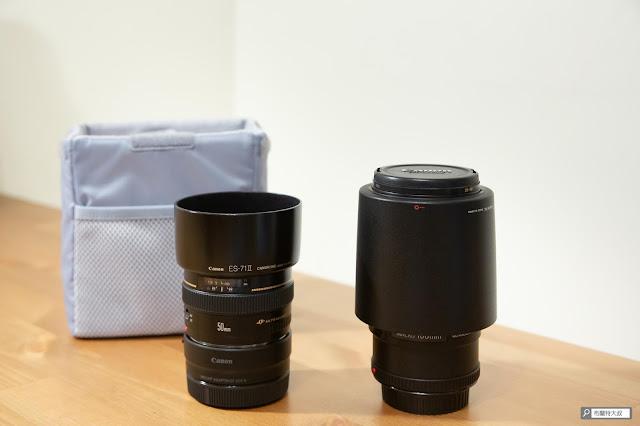 【開箱】輕巧收納好方便,HAKUBA 可折相機內袋 - HAKUBA 可折相機內袋也可以調整成收納兩顆鏡頭