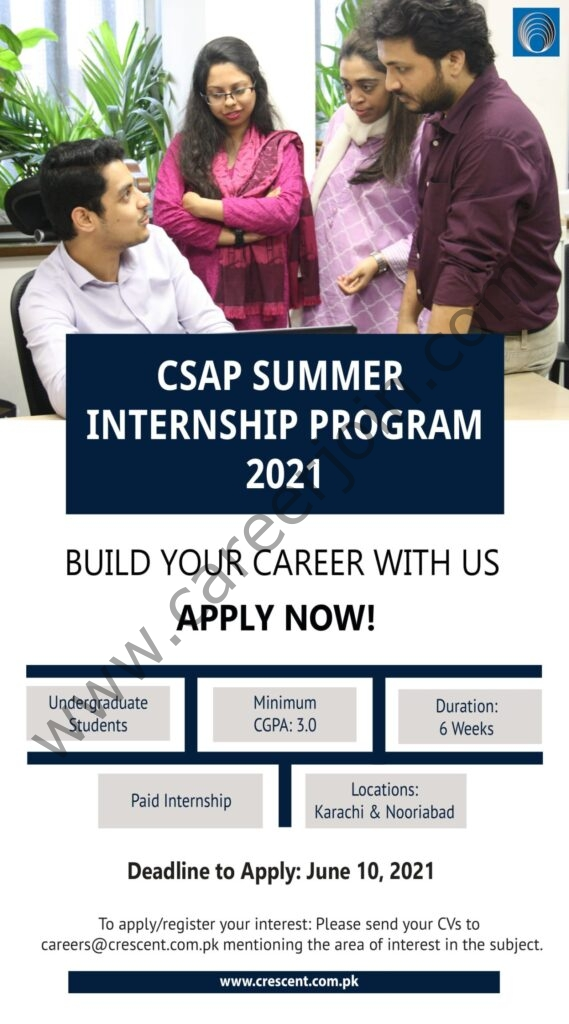 Crescent Steel and Allied Products Limited Summer Internship Program 2021 in PakistanCrescent Steel and Allied Products Limited Summer Internship Program 2021 in Pakistan