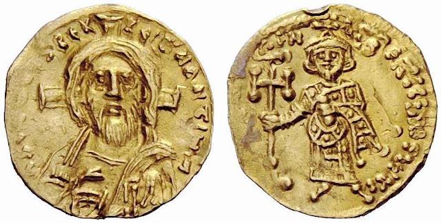 Moeda cunhada pelo imperador Justiniano II (687-692) Nela aparece Cristo com os rasgos do Santo Sudário.