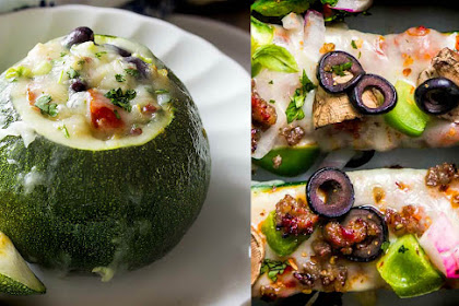 Courgettes stuffed with ham and olives