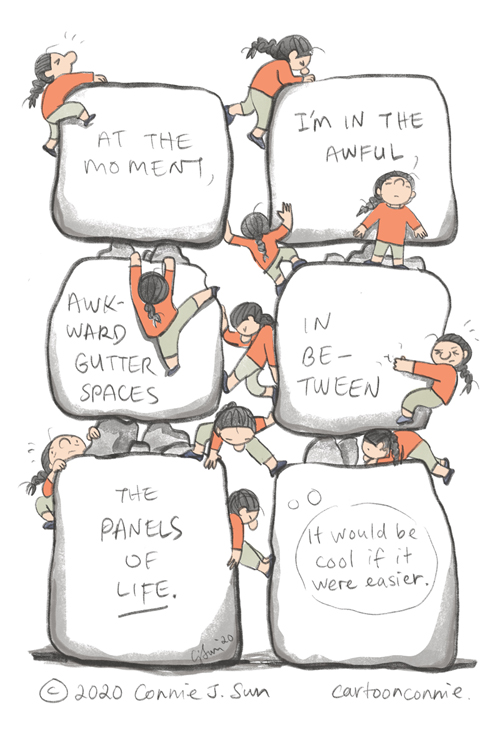 comics, panels, gutter, sketchbook drawing, climbing, illustration, by connie sun, cartoonconnie
