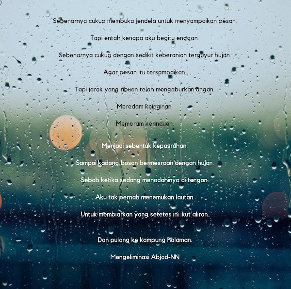 Aku tak pernah menemukan lautan.  Untuk membiarkan yang setetes ini ikut aliran. Puisi oleh Nia Nurdiansyah