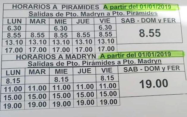 horarios omnibus micros bus peninsula valdes puerto pirámides