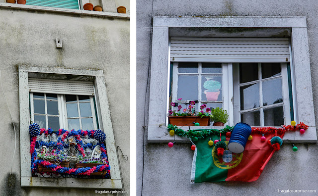 Janelas enfeitadas para a Festa de Santo Antônio na Alfama, em Lisboa