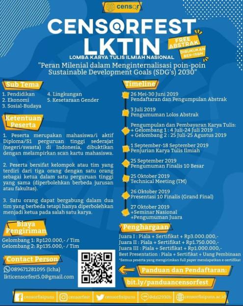 Lomba Karya Tulis Ilmiah Nasional CENSORFEST 2019 di UNS