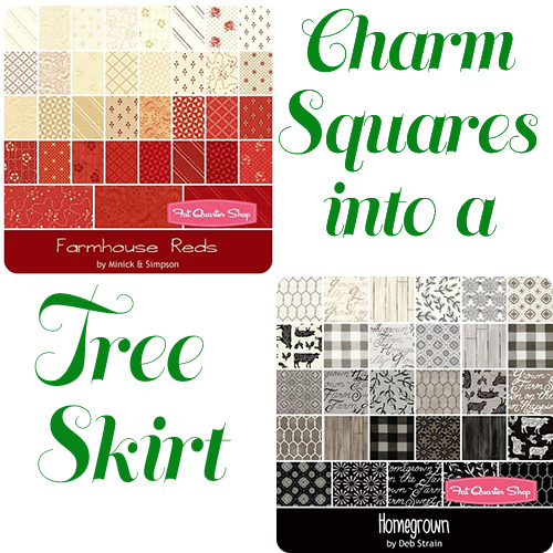 turning charm squares into a quick and easy tree skirt