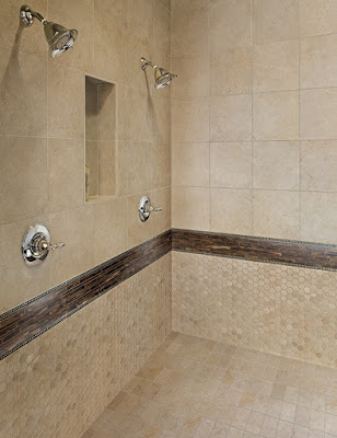 Tile is a great option for shower floors and walls.