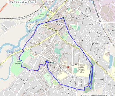 Map of tracked walk