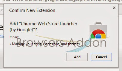 Chrome Web Store Launcher chrome confirmation