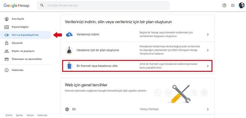 Gmail Hesabı Silme