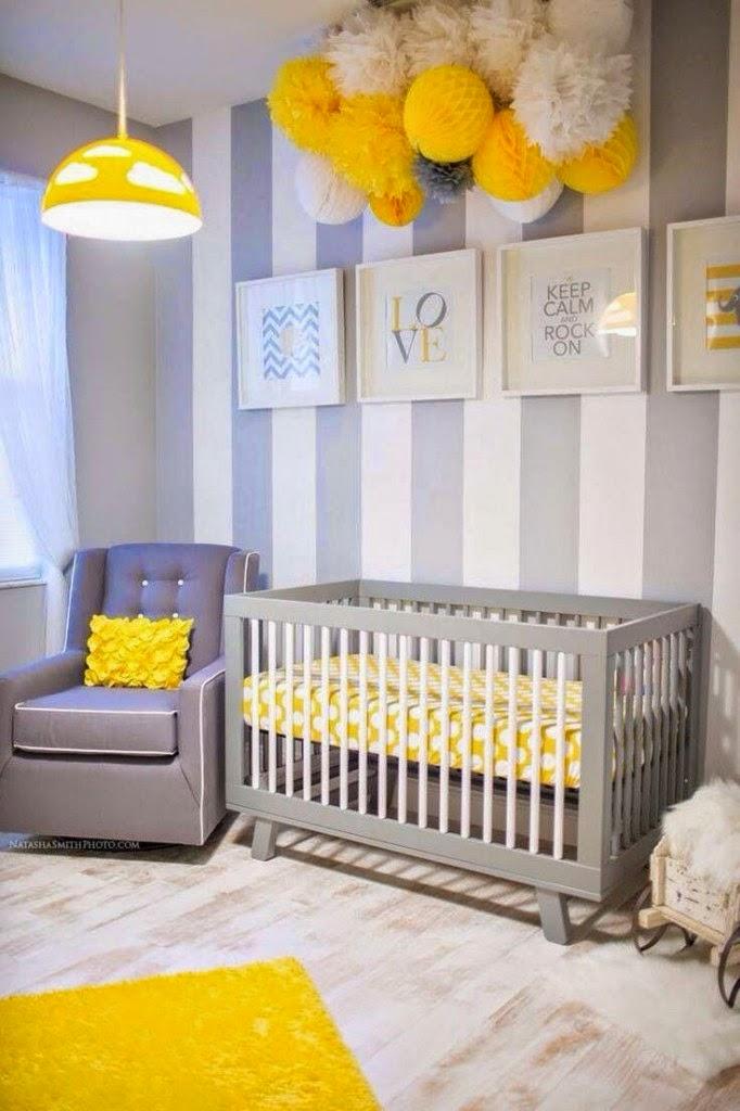 Cuarto bebé amarillo gris