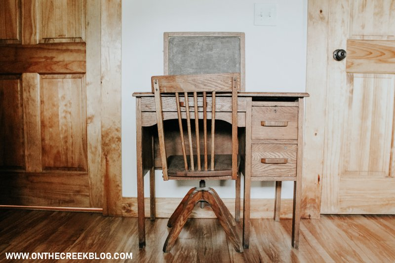 A little wood school desk! | On The Creek Blog