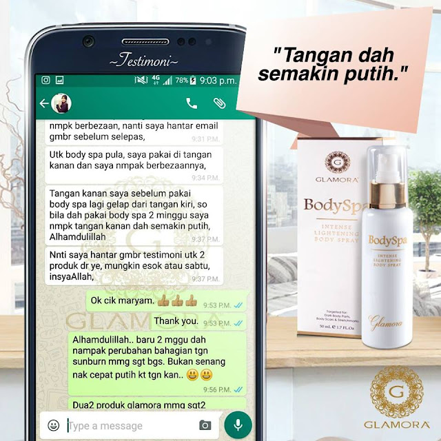 glamora body spa, testimoni glamora body spray, glamora whitening body spray