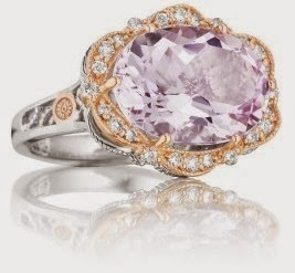 ACORI Pink Gold .28ct Diamond Rose Amethyst Ring