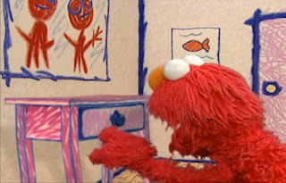 Elmo hears splashing coming from the drawer and then the quiz starts. Sesame Street Elmo's World Bath Time Quiz