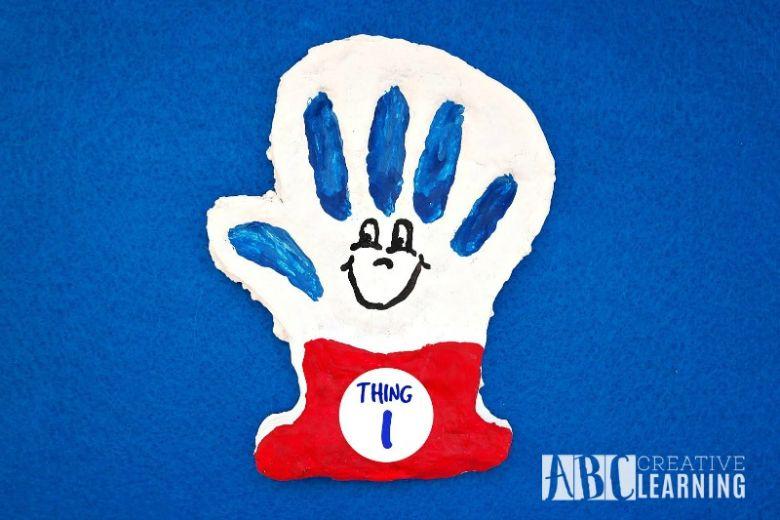 Thing 1 or Thing 2 salt dough handprint craft