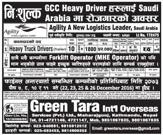 Free Visa Free Ticket Jobs in Saudi Arabia for Nepali, Salary Rs 52,040