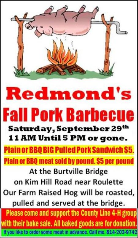 9-29 Redmond's Fall Pork Barbeque