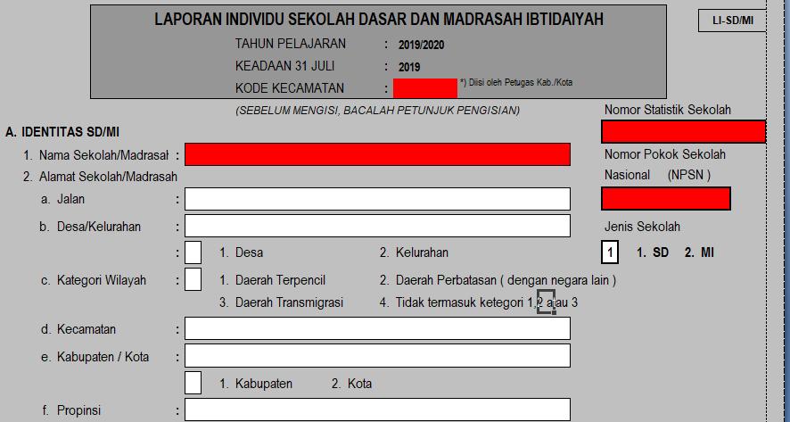 Download Unduh Format Laporan Individu Li Sekolah Madrasah Tahun Pelajaran 2019 2020 Dadang Jsn